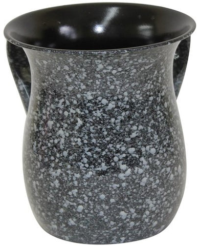 Ultimate Judaica Wash Cup Stainless Steel Black Marble - 5.5 inch H