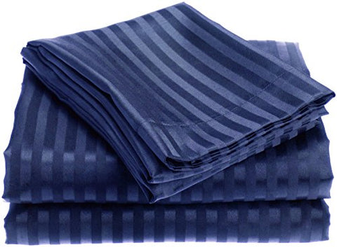 Ben&Jonah Designer Plush Queen 1800 Series Embossed Sheet Set - Navy