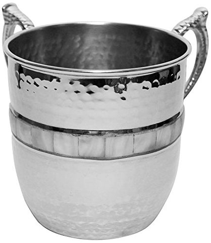 Ultimate Judaica Washing Cup Hammered Nickel W/Mother Of Pearl 5 inch H