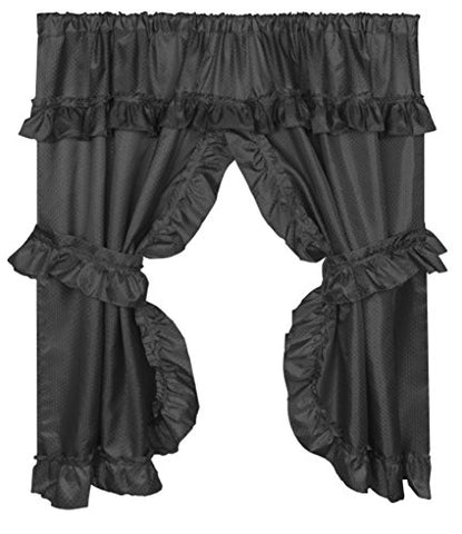 Park Avenue Deluxe Collection Park Avenue Deluxe Collection  inch Lauren inch  Window Curtain with Ruffled Valance Black