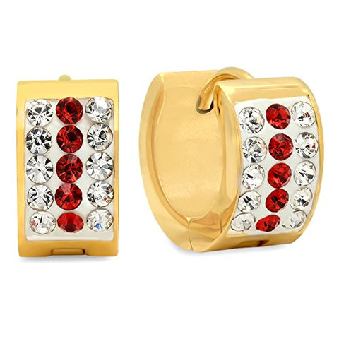 Ben and Jonah Ladies 18k Gold Plated Stainless Steel White and red simulate Diamond Huggie Earrings