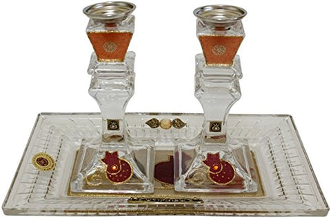 Ultimate Judaica Candle Stick With Tray Medium Applique - Red Pomegranate - Crystal - Tray 11 inch x 6.5 inch  Candle Stick 6 inch H