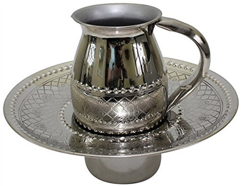Beracha Collection Stainless Steel Mayim Achronim set (Bowl 2.75 inch  H 7.5 inch  W Cup 4 inch  H 2 1/2 inch  1 Handle Silver)