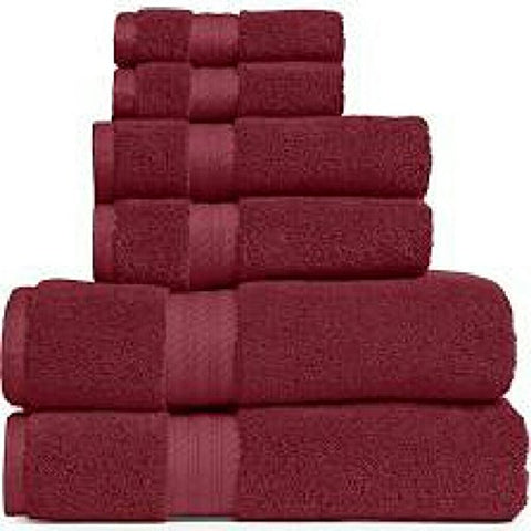 Ben&Jonah Designer Plush 6 Piece 100% Cotton Towel Set -Burgundy