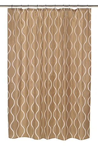 BenandJonah Collection Fabric Shower Curtain 70 x 72 inch  Curvy Lines Geneva Ivory/Taupe
