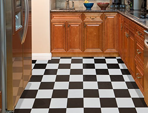 Ben&Jonah Collection Tivoli Black & White 12x12 Self Adhesive Vinyl Floor Tile - 45 Tiles/45 sq Ft