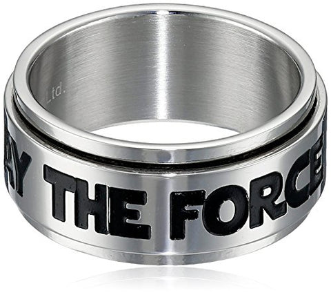 Star Wars Jewelry Men's May The Force Be with You Stainless Steel Spinner Ring Size 9