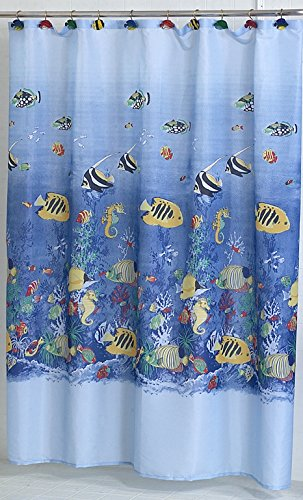 Under the Sea Coral Life Fabric Shower Curtain Size: 70 inch  x 72 inch