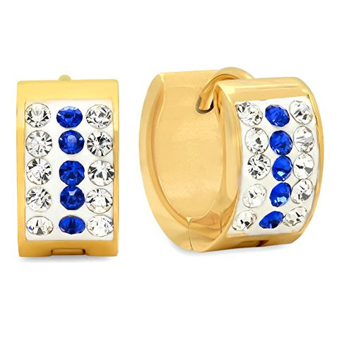 Ben and Jonah Ladies 18k Gold Plated Stainless Steel White and Blue simulate Diamond Huggie Earrings