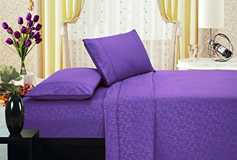 Ben&Jonah Designer Plush Queen Flower Embossed Sheet Set -Purple