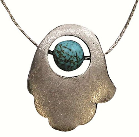 Conremporary Hamsa Amulet Necklace With Turquoise Globe - Chain 16 inch  Pendant 5/8 inch  W X 6/8 inch  H