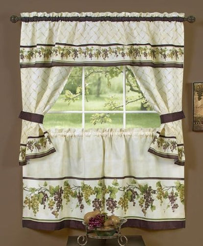 Park Avenue Collection Tuscany Cottage Set - 57x36 Tier Pair/57x36 Tailored Topper with attached valance and tiebacks. - Multi