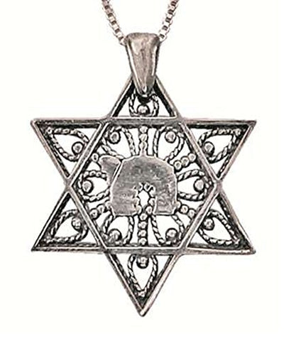 Silver Chai In Star Of David Necklace - Chain 19 inch  Pendant 15/16 inch  W X 1 inch  H