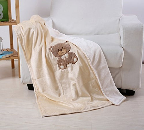 Ultra Soft Teddy Baby Blanket (30 inch  x 40 inch ) - Cream