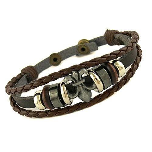 Ben & Jonah Brown Leather and Stainless Steel Multi Layer Bracelet with Fleur De Lis (7.5 inch -8.5 inch  Adjustable Length)