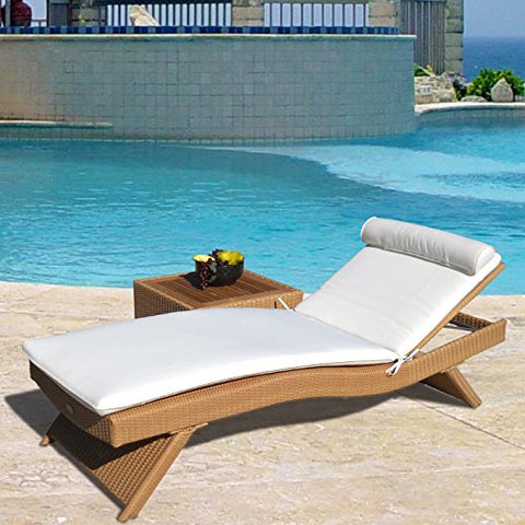 Eclipse Collection Wave Outdoor Sun Bed 7'L x 29 inch W x 10 inch H (Honey)