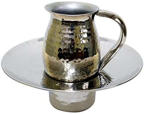 Beracha Collection Stainless Steel Mayim Achronim set (Bowl 2.75 inch  H 7.5 inch  W Cup 4 inch  H 2 1/2 inch  1 Handle Silver Hammered)