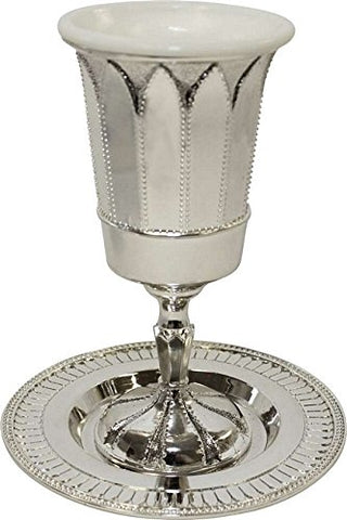 Nickel Plated Kiddush Cup With Plate With Stand 6 1/4 inch  H