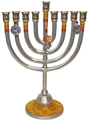 Lamp Lighters Ultimate Judaica Menorah Metal Classic Design - Gold - 11 inch W X 8 inch H