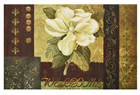 Ben&Jonah Collection Magnolia Welcome Outdoor Rubber Entrance Mat 18 in. x 30 in.