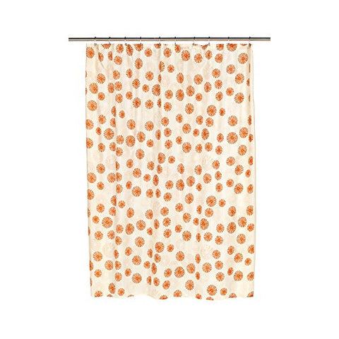 Park Avenue Deluxe Collection Park Avenue Deluxe Collection  inch Vienna inch  Fabric Shower Curtain with Poly Taffeta Flocking in Tangerine/Ivory