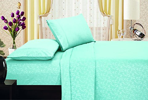Ben&Jonah Designer Plush King Flower Embossed Sheet Set -Blue