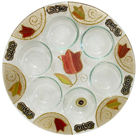 Ben and Jonah Glass Art Tulip Seder Plate 12 inch  D