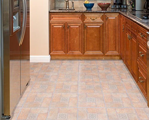 Ben&Jonah Collection Tivoli Beige Terracotta Motif Center 12x12 Self Adhesive Vinyl Floor Tile - 45 Tiles/45 sq Ft.