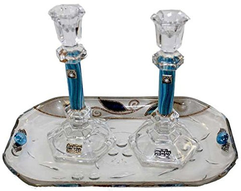 5th Avenue Collection Candle Stick With Tray Large Applique - Ocean Blue With Tulip - Crystal  - Tray 10  inch  W X 5  inch  L -  Candlesticks  - 7.5  inch  H