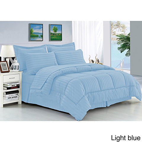 Ben&Jonah Designer Plush King 8 Piece Set: Embossed Dobby Stripe Microfiber Bed In A Bag -Lt.Blue