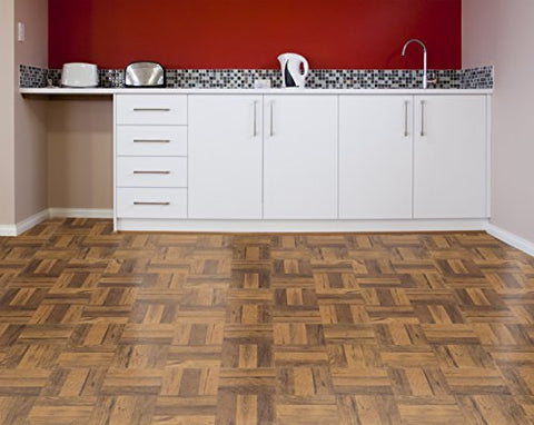 Ben&Jonah Collection Tivoli 3 Finger Med. Oak Parquet 12x12 Self Adhesive Vinyl Floor Tile - 45 Tiles/45 sq Ft.