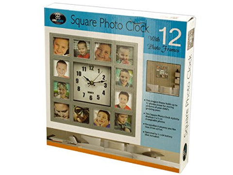 Regalo Perfecto Collection 12-Section Square Silver Photo Frame Clock