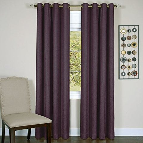 Park Avenue Collection Taylor - Lined Grommet Panel - 50x84 Aubergine