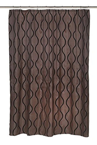 BenandJonah Collection Fabric Shower Curtain 70 x 72 inch  Curvy Lines Geneva Black/Brown