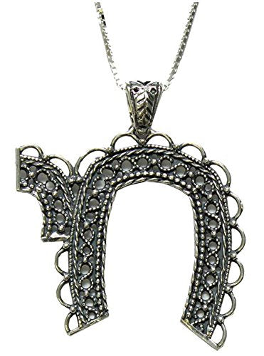 Silver Necklace With Large Chai Pendant - Chain 19 inch  Pendant 2 inch  W X 1 1/2 H