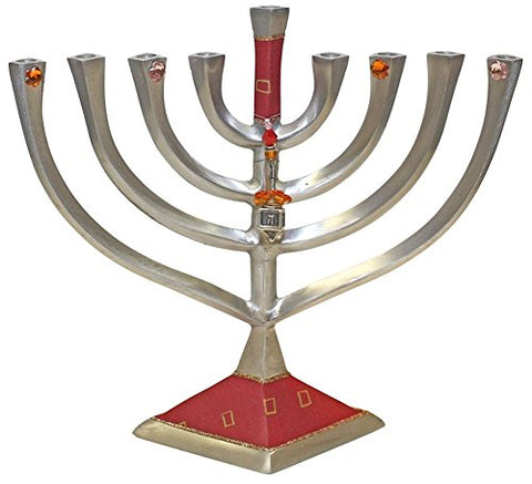 Lamp Lighters Ultimate Judaica Menorah Metal Diamond Design - Red  - 10 inch W X 9.5 inch H