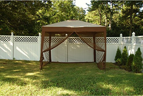 Patio Bliss STOW-EZ 10' X 10' Pop-Up Canopy with Mesquito Net and Carry Bag - Cocoa/Brown