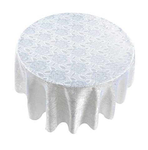 Park Avenue Deluxe Collection Park Avenue Deluxe Collection  inch Rose Damask inch  70 inch  Round Fabric Tablecloth in White