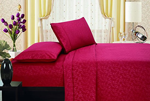 Ben&Jonah Designer Plush Queen Flower Embossed Sheet Set -Burgundy