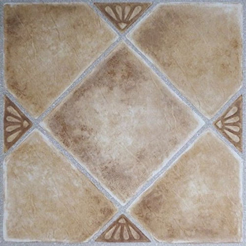 Park Avenue Collection NEXUS Beige Clay Diamond with Accents 12 Inch x 12 Inch Self Adhesive Vinyl Floor Tile #335 - 20 Tiles