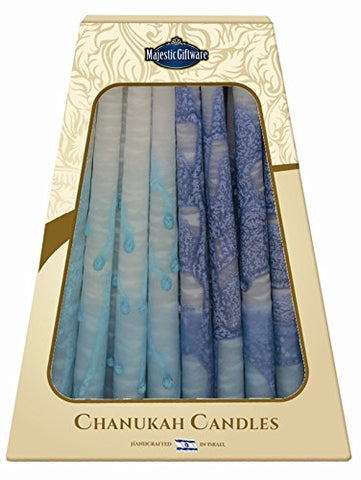 Lamp Lighters Ultimate Judaica Safed Chanukah Candles - 45 Pack - Blue/Turquoise/White - 6 inch