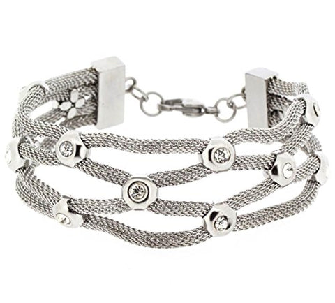 Ben and Jonah Crossover Mesh Lady's Bracelet with Stones and Lobster Lock - Edforce Stainless Steel