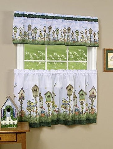 Park Avenue Collection Home Sweet Home Printed Tier and Valance set 58x24 Tier Pair and 58x13 Valance - Multi