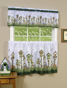 Park Avenue Collection Home Sweet Home Printed Tier and Valance set 58x36 Tier Pair and 58x13 Valance - Multi