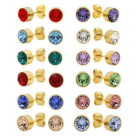 Lady'S 18K Gold Plated Stud Earrings With May Swarovski Elements Emerald Birthstone