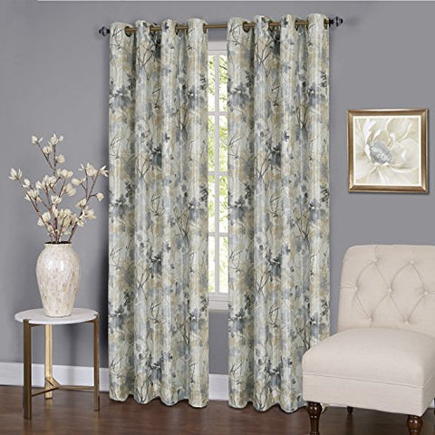 Tranquility Set of 2 Energy Efficient Blackout Curtain Panels (50 inch  x 84 inch ) with 8 Grommets - Silver