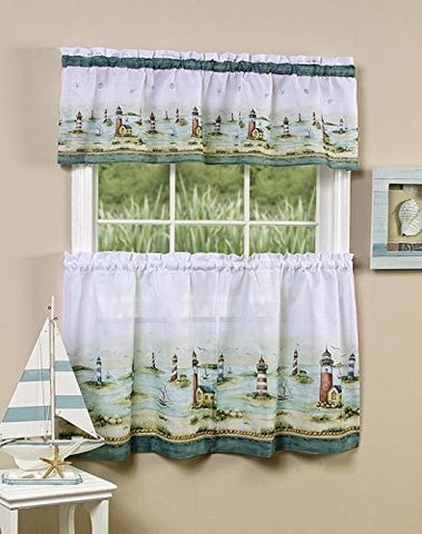 Park Avenue Collection Hamptons Printed Tier and Valance set 58x24 Tier Pair and 58x13 Valance - Sand
