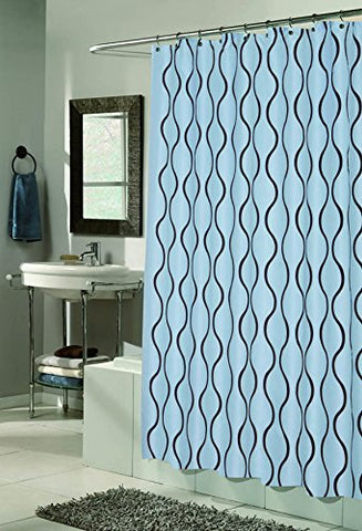 BenandJonah Collection Fabric Shower Curtain 70 x 72 inch  Curvy Lines Geneva Chocolate/Blue