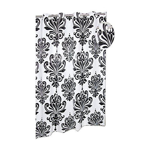 Park Avenue Deluxe Collection Park Avenue Deluxe Collection EZ-ON? PEVA  inch Beacon Hill inch  Shower Curtain in Black on White