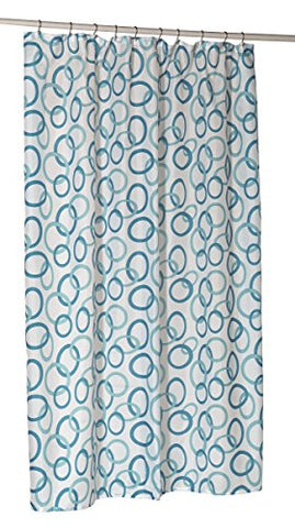 Royal Bath Extra Long Water Repellant Fabric Shower Curtain Liner with Weighted Hem (70 inch  x 84 inch ) - Circles